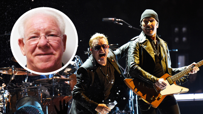 VANCOUVER, BC - MAY 14:  (L-R) Musicians Larry Mullen Jr., Bono and The Edge of U2 perform onstage during the U2 iNNOCENCE + eXPERIENCE tour opener in Vancouver at Rogers Arena on May 14, 2015 in Vancouver, Canada.  (Photo by Kevin Mazur/WireImage)